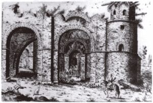 Drawing by Abraham van Westerfeld of St. Sophia's ruins, 1651.