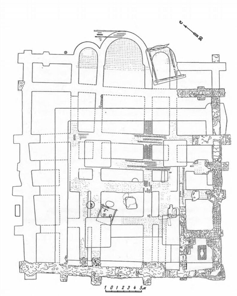 Plan of the Church of the Tithes, in Kiev. Late 10th century. From excavations by M. K. Karger.