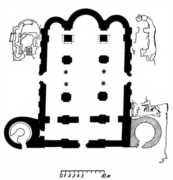 Layout of the Savior-Transfiguration Cathedral in Chernigov. Built c. 1036.