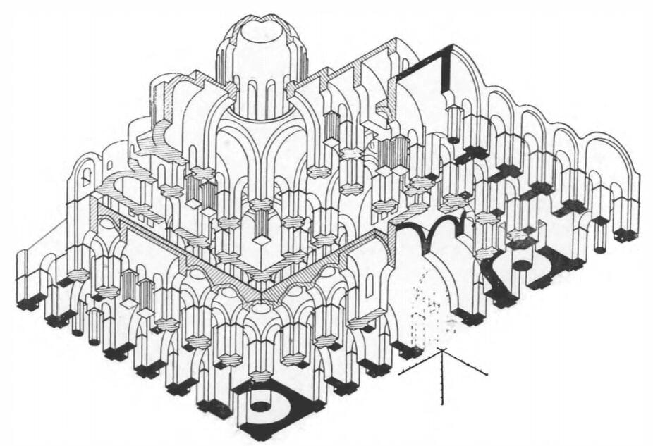 Perspective geometry of Kiev's St. Sophia Cathedral, built 11 cent.