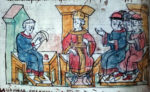 Radziwiłł Chronicle, folio 39 obv., 15th century copy of 13th century original. Byzantine emperor John I Tzimiskes receives ambassadors sent by Svyatoslav Igorevich. A scribe is shown on the left, with a scroll, pen and inkwell.