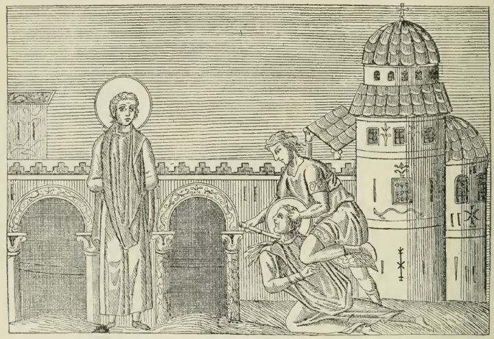 Illustration 34: Miniature from the Menologion of Basil II, Byzantine, c. 1000. Engraved reproduction from Menologium Graecorum, 1727.  October 25: The Martyrdom of Sts. Marcian and Martyrius.