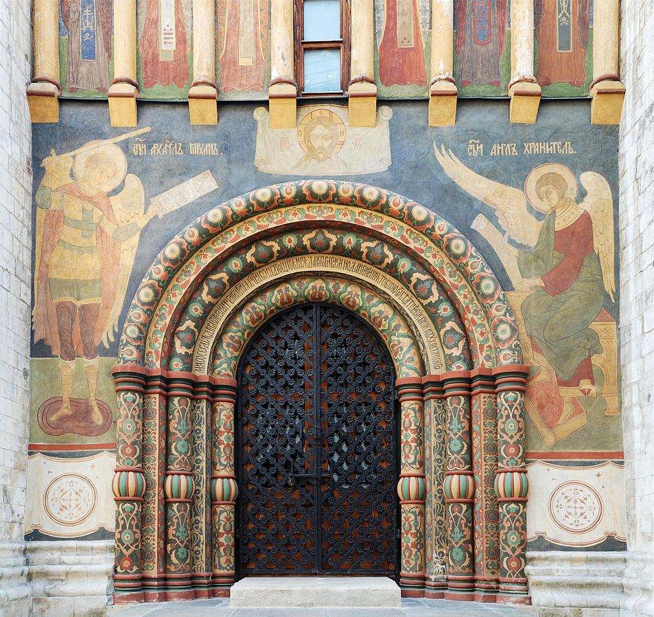 Wall paintings decorating the northern portal to the Cathedral of the Assumption, in Moscow's Kremlin. Photo shared under theCreative CommonsAttribution-Share Alike 3.0 Unportedlicense. Original can be found on Wikimedia.