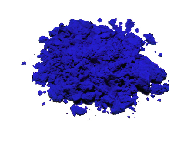 Azure pigment made from lapis lazuli.